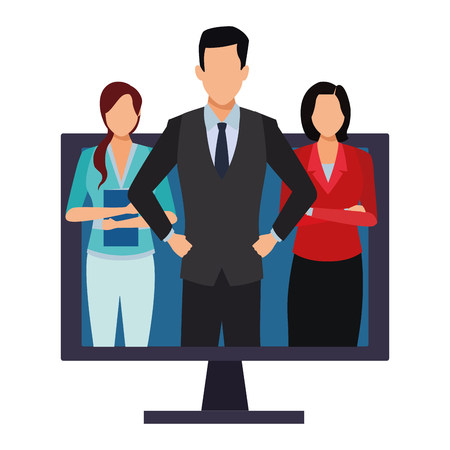 executive business coworkers people with computer screen cartoon vector illustration graphic design Standard-Bild - 122894415