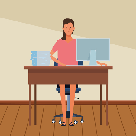 woman in a office desk with computer and documents indoor vector illustration graphic design Illustration