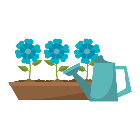 Gardening plants and tools water can and flowers