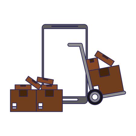 Online delivery from smartphone symbol vector illustration graphic design Stock Illustratie