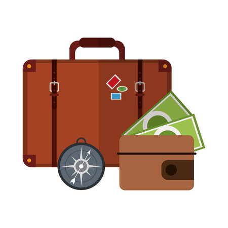 Vacations and travel suitcase and wallet with compass vector illustration graphic design