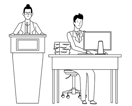 couple in a podium and office desk wearing glasses black and white vector illustration graphic design Illustration