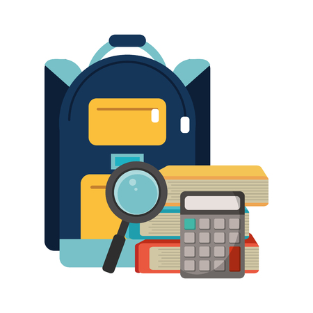 School utensils and supplies backpack with calculator and magnifying glass books