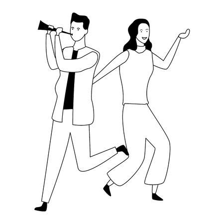 Couple woman and man dancing and having fun cartoon vector illustration graphic design