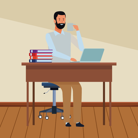 man in a office desk with computer and books indoor vector illustration graphic design Illustration