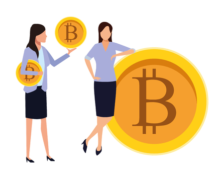 businesswomen holding cryptocurrency bitcoin vector illustration graphic design