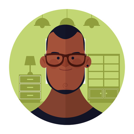 young man with beard face cartoon inside home round icon vector illustration graphic design