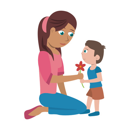 Single mother with kid boy with flowers cartoon vector illustration graphic design Ilustrace