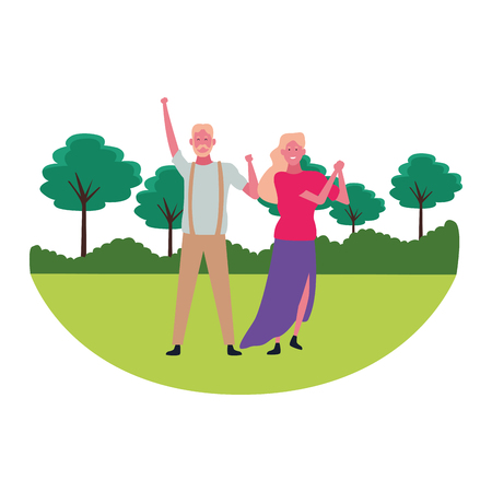 Father and adult daughter dancing and smiling in nature landscape scenery vector illustration graphic design