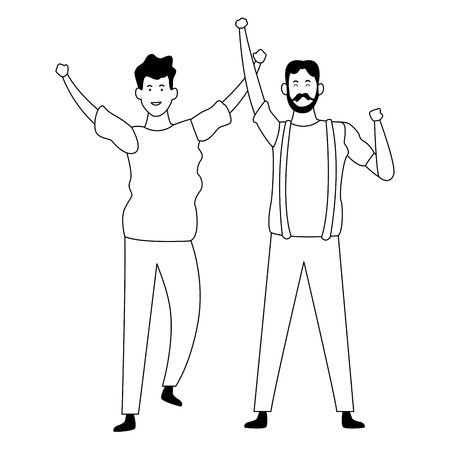 Father and adult son dancing and having fun cartoon vector illustration graphic design Çizim
