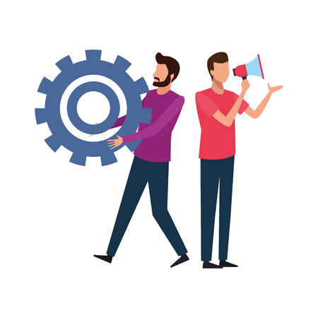 Coworkers men with big gear and bullhorn teamwork cartoon vector illustration graphic design