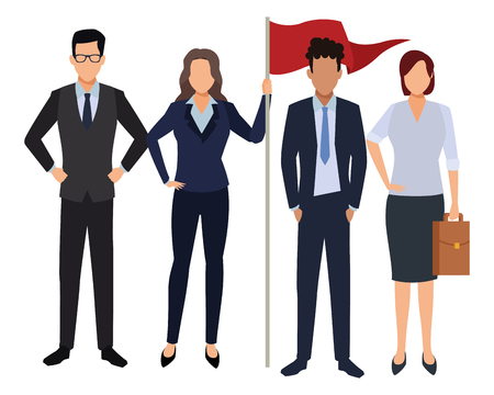 executive business coworkers with success flag cartoon vector illustration graphic design Imagens - 122895461