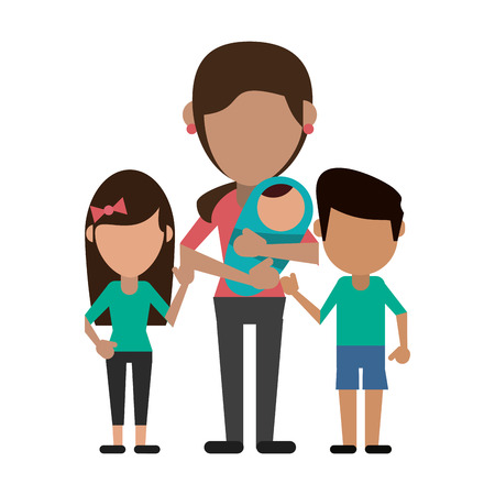 Family mother with kids avatar faceless cartoon vector illustration graphic design  イラスト・ベクター素材