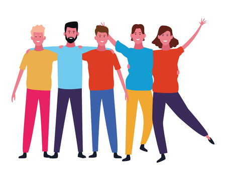Happy people friends smiling and having fun cartoon vector illustration graphic design