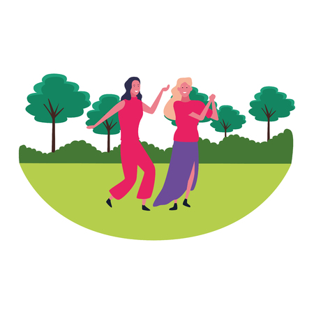Young women smiling and dancing in nature landscape scenery vector illustration graphic design