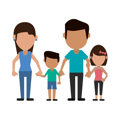 Family father and mother with kids avatar faceless cartoon vector illustration graphic design