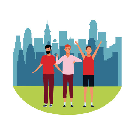 men avatars cartoon characters hands up open arms wearing glasses with beard  in the city park scenery