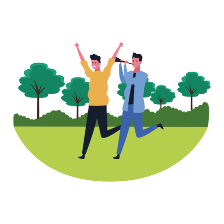 young men friends having fun with horn in nature landscape scenery vector illustration graphic design Çizim