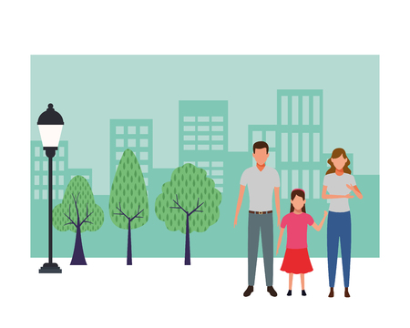 family avatar cartoon character child in the park cityscape vector illustration graphic design