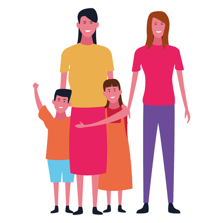 Family mothers and son with daughter vector illustration graphic design