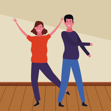 Young boyfriend and girlfriend smiling inside building wooden floor vector illustration graphic design