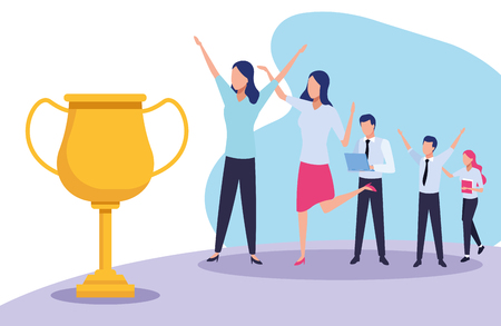 Business coworkers with trophy cup cartoons vector illustration graphic design Çizim