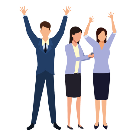Businessman and businesswomen with arms up vector illustration graphic design Standard-Bild - 122895631