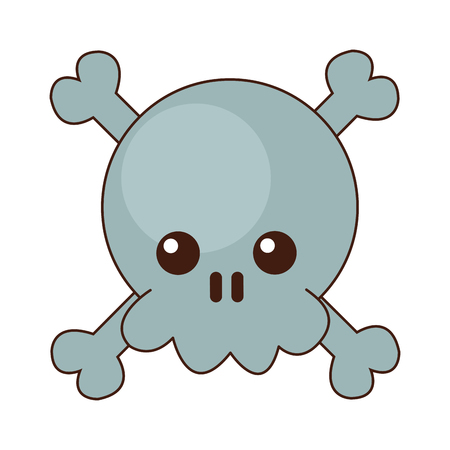 Skull with bones cute kawaii cartoon vector illustration graphic design