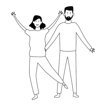 Couple boyfriend and girlfriend smiling cartoon vector illustration graphic design Çizim