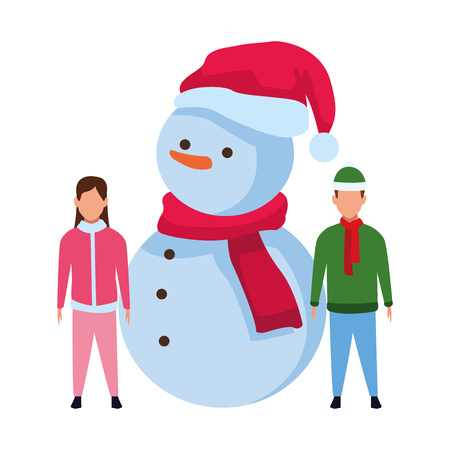 children with snowman christmas hat knitted cap and scarf vector illustration graphic design