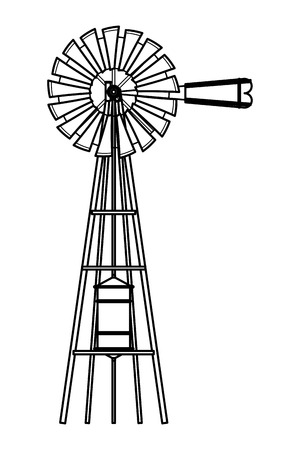 wind turbine icon cartoon isolated black and white vector illustration graphic design