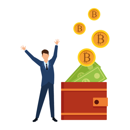 businessman with wallet cryptocurrency bitcoin and money bills vector illustration graphic design Stock Illustratie