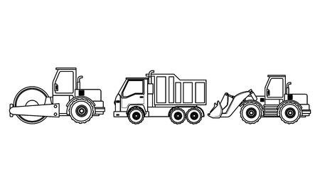 Aplanadora de vehículos de construcción y camión con maquinaria excavadora ilustración vectorial diseño gráfico