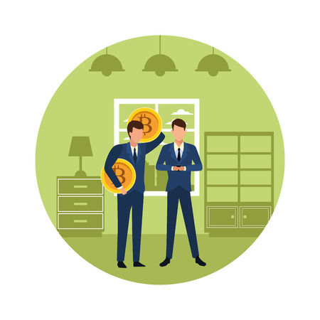 Business people with bitcoins avatars inside home apartment round icon vector illustration graphic design Ilustração