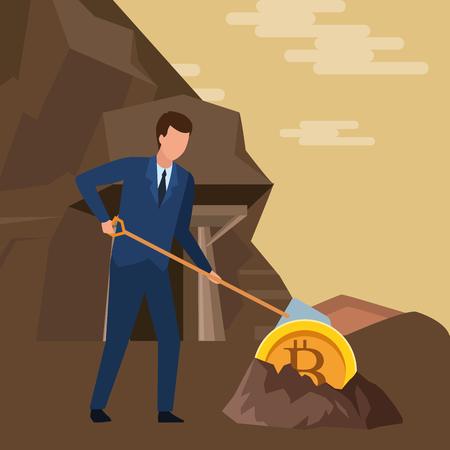 empresario y criptomoneda incrustado en el suelo bitcoin y pala en la mina diseño gráfico de ilustración vectorial