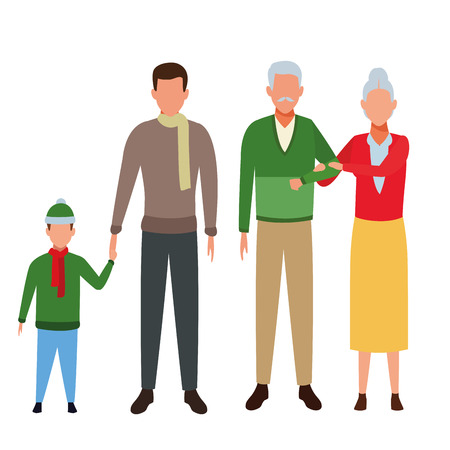 family avatar cartoon character grandparents father child wearing winter clothes vector illustration graphic design