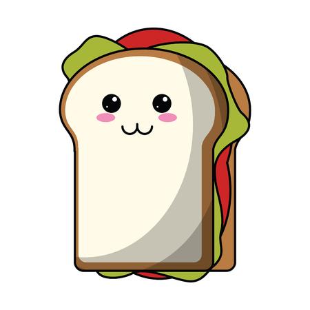 Sandwich cute kawaii cartoon vector illustration graphic design