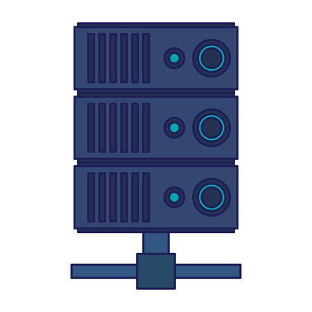 Database server technology isolated vector illustration graphic design Çizim