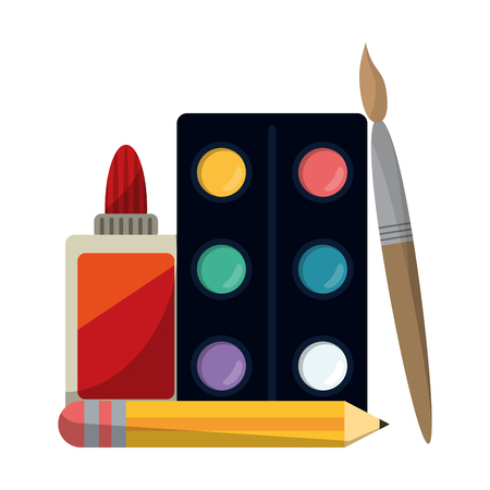 School utensils and supplies paint palette and brush with glue bottle Ilustração