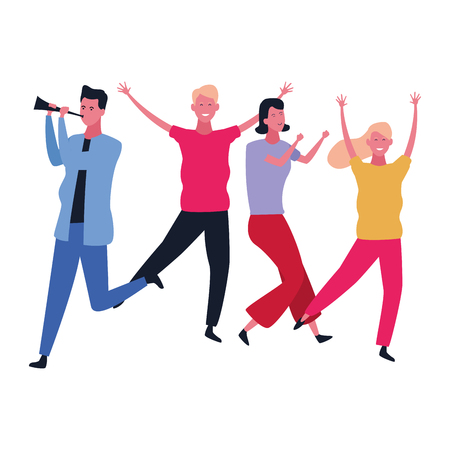 Happy people dancing and having fun vector illustration graphic design