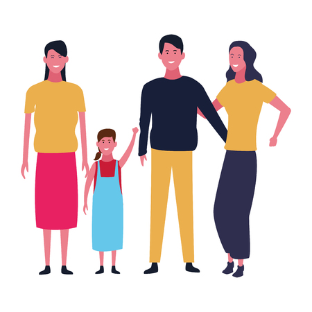 Family mothers and father with daughter vector illustration graphic design