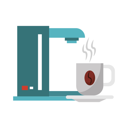coffee making machine with cup on plate with bean and heat steam vector illustration graphic desing