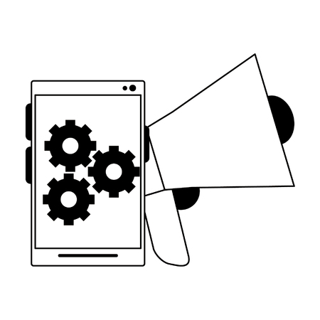 cellphone gears and peripone icon cartoon vector illustration graphic design
