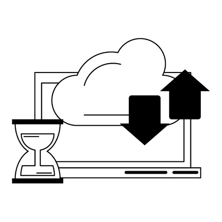 computer with cloud transfer and hourglass icon cartoon vector illustration graphic design Illustration