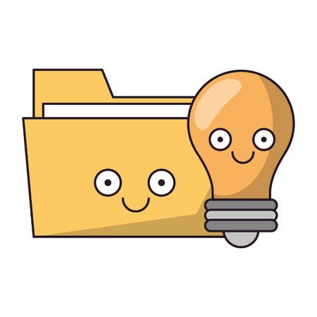 Folder and bulb light smiling cartoons vector illustration graphic design Stock Illustratie
