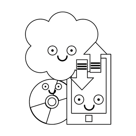 Smartphone and cloud computing with cd rom smiling cartoons vector illustration graphic design