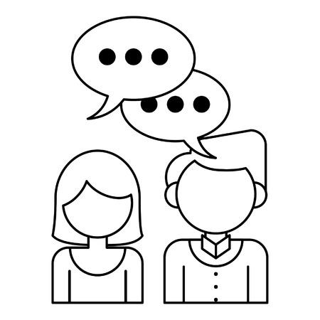 couple with speech bubble icon cartoon vector illustration graphic design Illustration