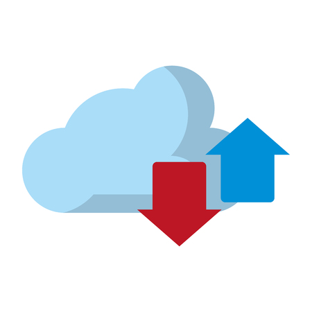 cloud with transfer icon cartoon vector illustration graphic design