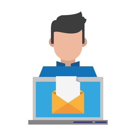 computer with envelope icon cartoon vector illustration graphic design Ilustrace