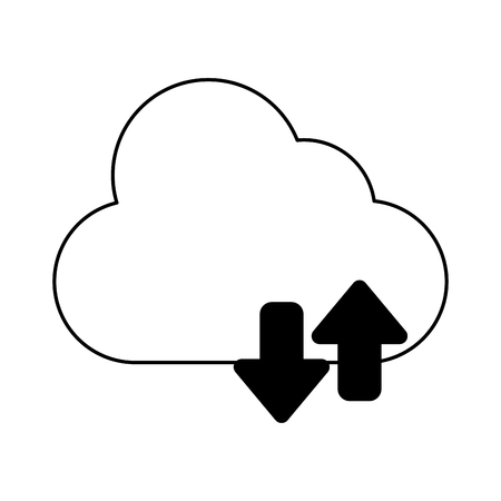 cloud with transfer arrow icon cartoon vector illustration graphic design black and white